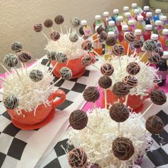 cake balls in giant tea cups for mad hatter party