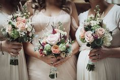 Dee and Paddy combined their love of festivals with a colour palette based on bride Dee's stunning blush Vera Wang gown to celebrate at the Village of Lyons. Cream Bridesmaid Dresses, Bridesmaid Flowers, Wedding Bouquets, Wedding Flowers, Cream Bridesmaids, Flower Bouquets, Wedding Dresses, Wedding Attire, Wedding Engagement