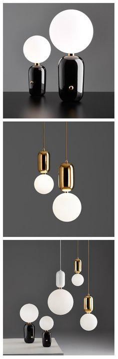 Светодиодные лампы Aballs испанского дизайнера Хайме Айона считаются мировым эталоном для домашнего интерьера. Их, на первый взгляд, неброский дизайн привлекает тысячи людей.  Подвесные лампы изготовлены из выдувного стекла и стальной конструкции, выполненной в трех основных цветах: белой лакированной, черной и золотой. Настольные светильники - это сочетание стекла и керамики, также изготовленной в трех цветах.