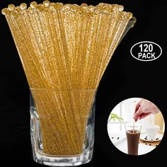 Aboat 120 Pieces Inch Plastic Round Top Swizzle Sticks, Crystal and Gold Rehearsal Dinner Decorations, Baby Sprinkle, Round Top, Sticks, Plastic, Crystals, Tableware, Glass, Gold