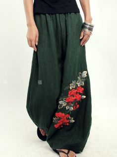 Green women Pants wide leg pants fashion skirt pants Linen pants. $59.50, via Etsy.