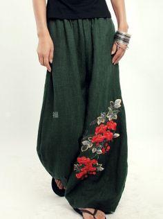 Green women Pants wide leg pants fashion skirt pants Linen pants