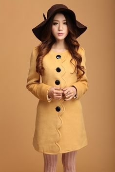 Wholesale Beautiful & Charming Round-neck Pure Color Single-breasted Long Coat----Yellow top dresses