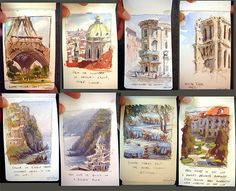 Watercolor and Gouache Sketches, Marco Bucci Travel Sketchbook, Watercolor Sketchbook, Art Sketchbook, Watercolor Art, Fashion Sketchbook, Flower Yellow, Art Sketches, Art Drawings, Art Et Architecture
