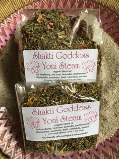 SHAKTI GODDESS YONI STEAM Herbal Blend Bajos Vaginal Steam Bath~ I blend my Shakti Goddess Herbal Yoni Steams here in my temple, with organic herbs, and loving intent. Yoni Steams come in a compostable cello package with instructions for use. One ounce= one steam. Nuit Moore & Shakti Goddess Arts * wholesale & retail *