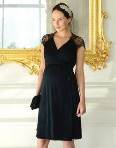 eea30b2618 Lace Detail Wrap Maternity Dress