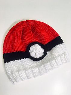Ravelry: Pokemon Poke Ball Knit Hat pattern by Vicki Mann hat kids ravelry Pokemon Poke Ball Knit Hat Knitted Hats Kids, Baby Hats Knitting, Knitting For Kids, Kids Hats, Loom Knit Hat, Knit Crochet, Crochet Hats, Loom Knitting Projects, Crochet Projects