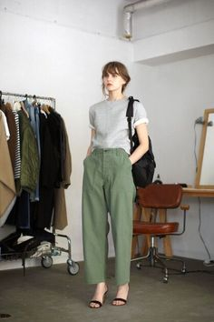 Utility pants and single strap sandals