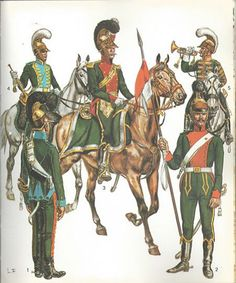 French; Cheveau-Legers Lanciers.L to R Mounted- Trumpeter 5th Regt 1811, Major Commanding 1st Regt(if facings are scarlet), Trumpeter 3rd Regt 1812. On foot- 5th Regt & 6th Regt. By L & F Funken