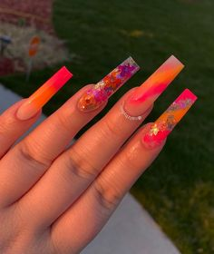 Trendiest and Hottest Nail Arts to Rock - Beta Protocol Orange Acrylic Nails, Long Square Acrylic Nails, Bling Acrylic Nails, Summer Acrylic Nails, Best Acrylic Nails, Bling Nails, Gold Nail, Coffin Nails, Dope Nail Designs