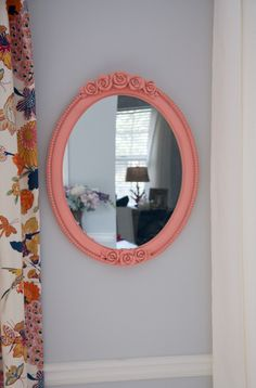 "DIY spray-painted peach oval mirror (Color is ""Brushed Rose"" by Valspar, from Lowe's)"
