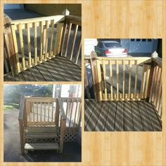 My DIY picket gate I made so the dogs could sit on the deck and bark at the neig. My DIY picket ga Outdoor Spaces, Outdoor Living, Outdoor Ideas, Picket Gate, Diy Gate, Deck Cost, Laying Decking, House Deck, Pallet Painting