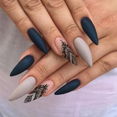 Gray Matte Stiletto Nails with Black Details. Gray Matte Stiletto Nails with Black Details Ongles Stiletto Mat, Matte Stiletto Nails, Black Nails, Navy Blue Nails, Coffin Nails, Pointed Nails, Matte Black, Stiletto Nail Designs, Green Nails