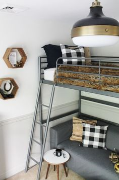 Buffalo check curtains, a loft bed and masculine touches make this the perfect rustic tween bedroom. See all of the before and after photos of this makeover at www.cityfarmhouse...
