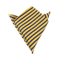 Yellow and Navy Blue Diagonal - Pocket Square Mens Suit Hanky Handkerchief