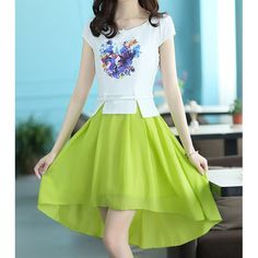Elagant Scoop Neck Printed High-Low Color Block Dress For Women, GREEN, M in Dresses 2014 | DressLily.com