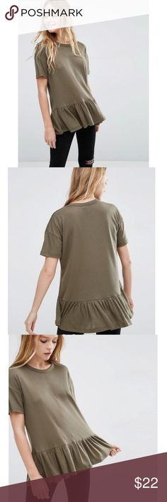 Asos ribbed Olive green Tunic / tee Asos tee, olive / army green in color, Us size 8 that fits like a M/L, ribbed with riffle hemline, viscose blend material, NWOT - never worn! Asos Tops Tunics