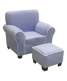 This Blue Polka Dot & White Minky Club Chair & Ottoman Set is perfect! #zulilyfinds. $99.99. I'd like this for Zamboni!