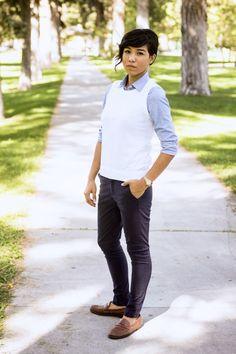 Button-down and sweaterish vest?