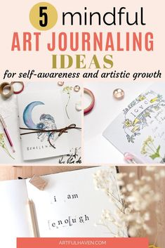 Mindful art journal ideas to practice self-care and grow artistically and person. - Mindful art journal ideas to practice self-care and grow artistically and personally. Art Journal Prompts, Art Journal Techniques, Bullet Journal Ideas Pages, Art Journal Pages, Art Journaling, Art Therapy Projects, Art Therapy Activities, Therapy Ideas, Art Projects
