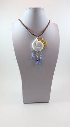 Handmade pendant, polymer clay, cloud, sun, rain, weather, OOAK