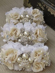 Brooch Wrist Corsage  Ivory and White by ForeverBouquet on Etsy, $40.00
