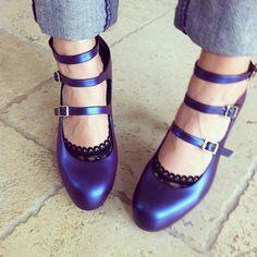 Vivienne Westwood + Melissa Shoes 3-strap platforms in Purple