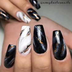 White and black marble nail design with gold detailing. Beautiful nails sculpted and painted exclusively with Ugly Duckling products by Master Educator ✨Ugly Duckling Nails page is dedicated to promoting quality, inspirational nails created Marble Nail Designs, New Nail Designs, Black Nail Designs, Acrylic Nail Designs, Black Marble Nails, Marble Acrylic Nails, Cute Acrylic Nails, Gold Marble, Marbled Nails