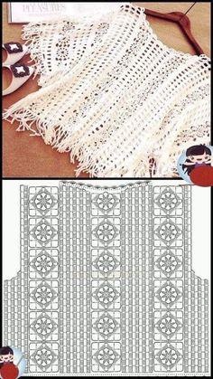 Pull Crochet, Crochet Cardigan Pattern, Crochet Stitches Patterns, Crochet Blouse, Crochet Designs, Easy Crochet, Crochet Diagram, Crochet Motif, Crochet Flowers
