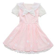 2557 日本LIZ LISA海军风领甜美格子可别蝴蝶结雪纺泡泡袖连衣裙 ($1.67) ❤ liked on Polyvore featuring dresses, lolita, pink and pink dress