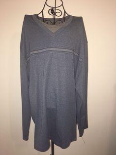 Mens VAN HEUSEN 3XL Cotton Blend Blue Gray Pullover Shirt Long Sleeve Stripe NWT #VanHeusen #Crewneck