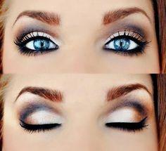 Smokey Eye Makeup for Blue Eyes Steps - Eye makeup ideas for natural brown, cat, cute eyes tutorial