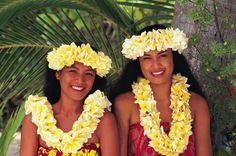 Tahitian Women with Flower Leis and Heis