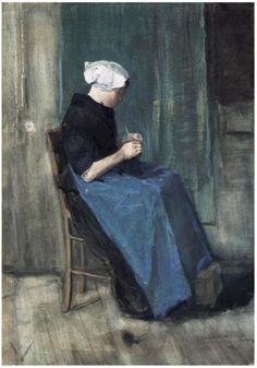 Vincent van Gogh ~ Scheveningen Woman Knitting, 1881