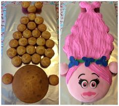 What an awesome idea for those who have a little one who absolutely loves Poppy from the movie Trolls. Lay cupcakes as shown. A 8 inch diameter cake pan was used for the face. Cupcakes Decoration Awesome, Cupcakes Cool, Troll Cupcakes, Cute Cakes, Dress Cupcakes, Ladybug Cupcakes, Kitty Cupcakes, Snowman Cupcakes, Giant Cupcakes