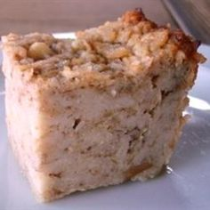 Apple Matzo Kugel Allrecipes.com -- subtituted melted butter and unsweetened apple sauce for oil.