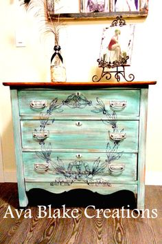 DIY Painted Dresser with Wreath - Reader Featured Project.   -------   Wow this is one of my favorites!