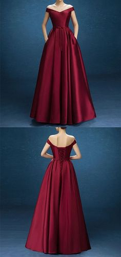 Burgundy Satin V Neck Off The Shoulder Prom Dresses With Pockets