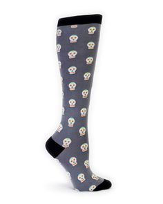 Grey Knee High Sock With Day Of The Dead Print