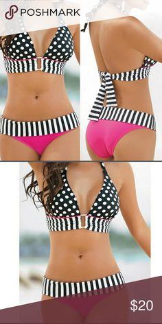 **3 HOUR SALE*****Pink Black Polka Dot Bikini Set ADORABLE!! Hygienic liner still attached Swim Bikinis