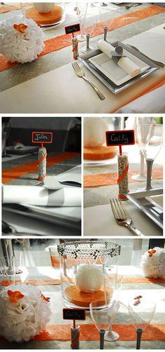 Housse de chaise mariage discount avec noeud orange ou - Chaise blanche et grise ...