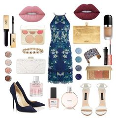 """""""Wedding Guest ⛲️💙"""" by ashleeyneeo on Polyvore featuring Karen Millen, Forever New, BCBGMAXAZRIA, Les Georgettes, Lime Crime, Terre Mère, Jimmy Choo, Benefit, Marc Jacobs and Chanel"""