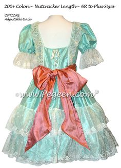 Aqualine and Coral Rose Silk Nutcracker Dress Style 730