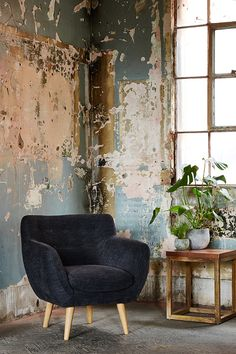 Swoon Editions lifestyle feat. the Mimi armchair and Denton side table in copper