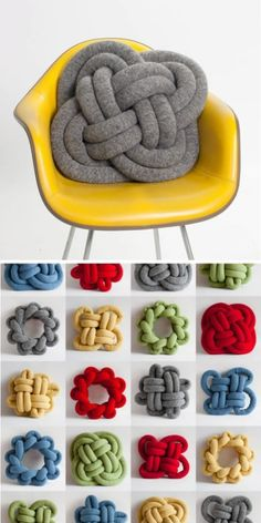 These cool knot pillows would be great for kids bedrooms or family room. I don't want to buy, I want to make them. Use the pic for inspiration. Wish me luck!