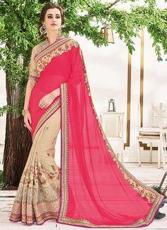 Buy Ravishing Georgette Beige and Hot Pink Designer Half N Half saree, Online #sarees