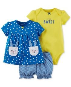 Carter's 3-Pc. Cotton Bunny Top, Sweet Bodysuit & Diaper Cover Set, Baby Girls (0-24 months) - Blue Newborn