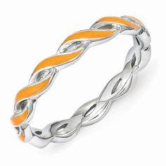 Sterling Silver Stackable Expressions Orange Enamel Ring QSK1514