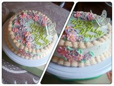 Vanilla birthday cake with royal icing decorations done by moi :-)