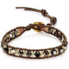 Chan Luu Beaded Leather Bracelet ($90) ❤ liked on Polyvore featuring jewelry, bracelets, bohemian bracelet, boho bracelet, swarovski crystal bracelet, bead bracelet and leather bead bracelet